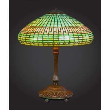 Tiffany Studios Leaded Table Lamp with Bronze Mushroom Base