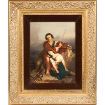 KPM Plaque of a Courting Couple w/man playing violin