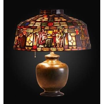 Duffner & Kimberly Leaded & Stained Glass Lamp, depicting Magna Carta