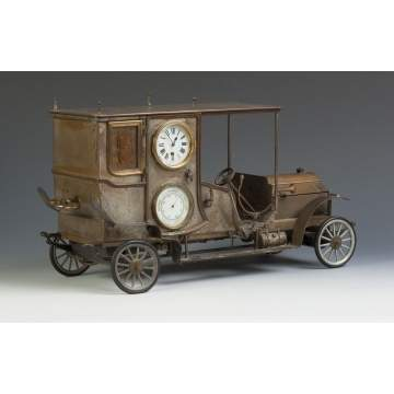 Rare French Automaton Car Clock by Guilmet