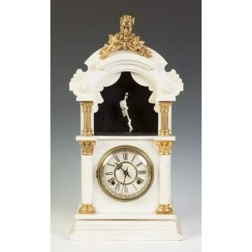 "New Haven Clock Co. ""Trade Stimulator"" Clock with Animated Acrobatic Skeleton"