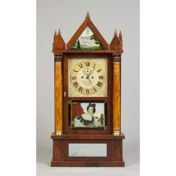 Rare Spencer & Hotchkiss Co., Salem Bridge, CT, Gothic Shelf Clock