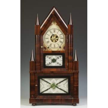 Birge & Fuller Double Steeple Shelf Clock