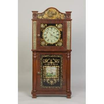 Asa Munger, Auburn, NY, Glass Front Shelf Clock