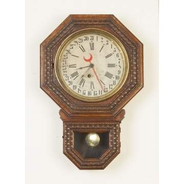 E. Ingraham Embossed School House Calendar Clock