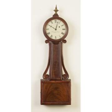 Nehemiah Dodge Wood Front Banjo Clock