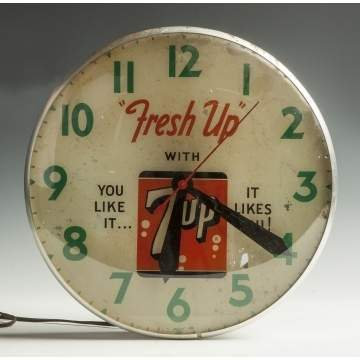 Electric 7-Up Reverse Painted Advertising Clock