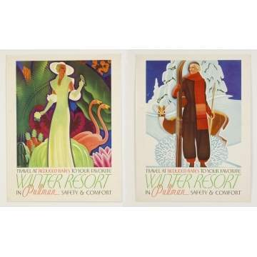 Two Winter Resort in Pullman Vintage Travel Posters