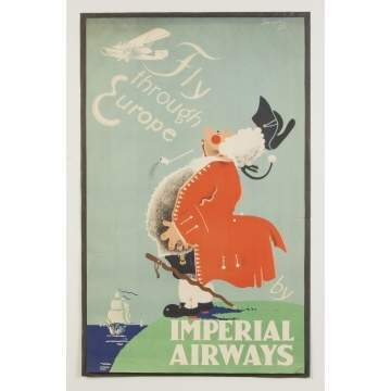 Fly Through Europe by Imperial Airways Vintage Travel Poster