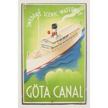 Gota Canal, Sweden's Scenic Waterway Vintage Travel Poster