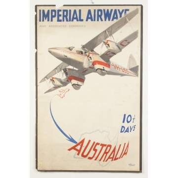 Imperial Airways & Associated Companies Vintage Travel Poster