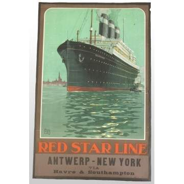 Red Star Line, Antwerp & New York, Vintage Travel Poster