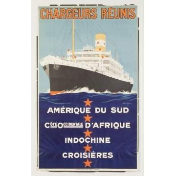 Chargeurs Reunis Vintage Travel Poster