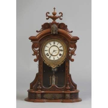 Ansonia Victorian Walnut & Burl Shelf Clock