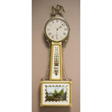William Cummings, Roxbury, Mass. Mahogany Banjo Clock