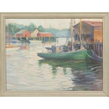 Clifford M. Ulp (Rochester NY, 1885-1958)  Mooring boats, Gloucester