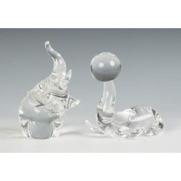 Steuben Crystal Elephant & Seal with Ball