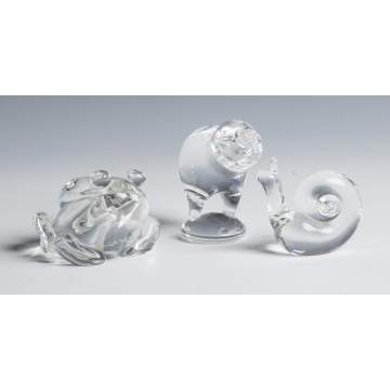 Steuben Crystal Frog, Chick & Snail