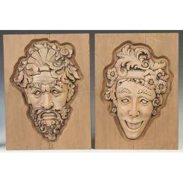 Carved Wood Comedy & Tragedy Theatre Heads