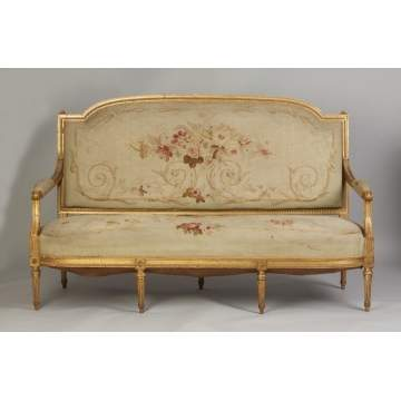 French Carved & Gilt Wood Settee with Matching Side Chair