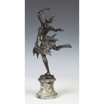 Leon Salat (French, Early 20th century) Art Deco Bronze Ballerina
