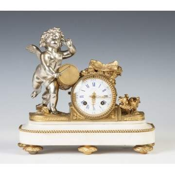 French Gilt Bronze, Patinaed Metal & Marble Mantle Clock
