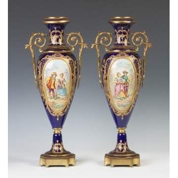 Pair of Sevres Style Hand Painted Urns