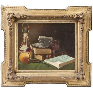 Maurice A. Waas (Pennsylvania, 1843-1927) Still Life with wine glass, pipe & books
