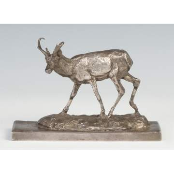 Charles M. Russell (American, 1864-1926) Sterling Silver Statue of Antelope