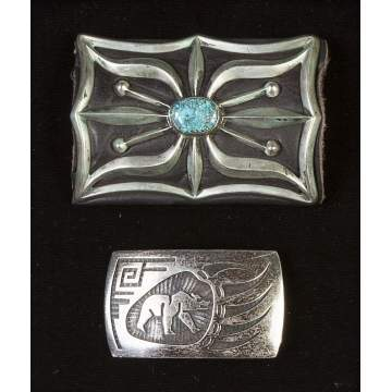 Navajo Silver & Turquoise Cuff & Belt Buckle