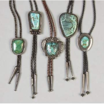 Five Navajo Silver & Turquoise Bolo Ties