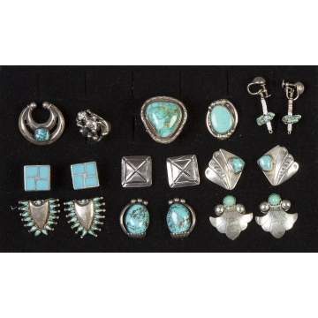 Group of Various Navajo Silver & Turquoise Jewelry