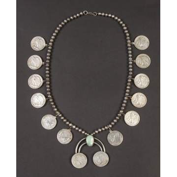 Navajo Silver & Turquoise Necklace with Half Dollars