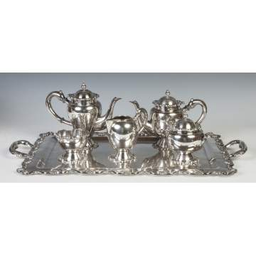Sterling Silver Five Piece Tea & Coffee Set with Tray