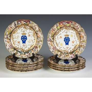 Capodimonte Hand Painted Porcelain Plates, Set of 11