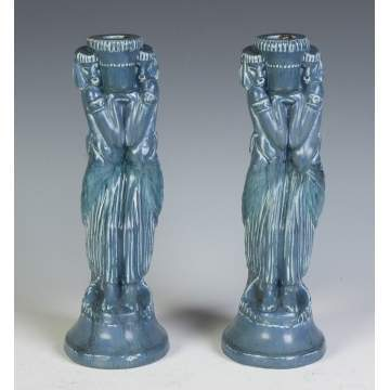 Pair of Rookwood Figural Candlesticks