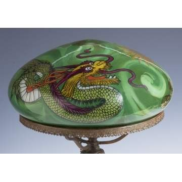 Handel Table Lamp with Reverse Painted Dragon