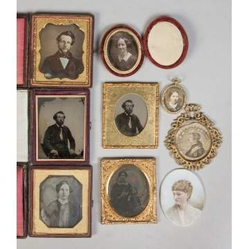 Group of Early Daguerreos, Tin Types & Miniature Painting