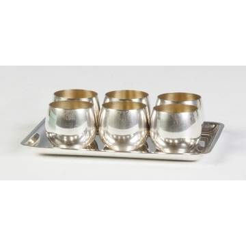 Tiffany & Co. Sterling Silver Cordial Set with Tray