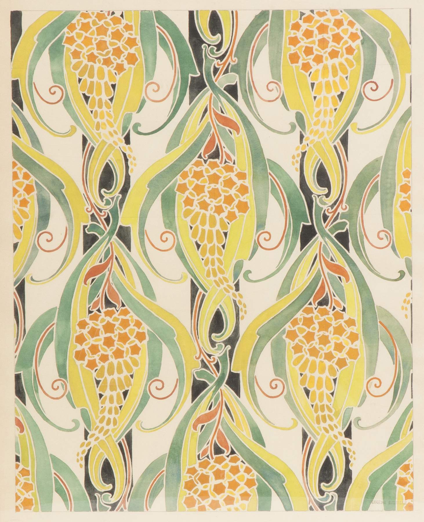 Four Art Nouveau Watercolor Wallpaper Designs by Eugene Belville ...
