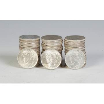 Sixty 1920's Peace Silver Dollars