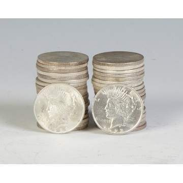 Forty 1920's Peace Silver Dollars