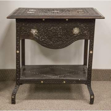 19th Century Hardwood Carved Mother of Pearl Table and 2 Chairs