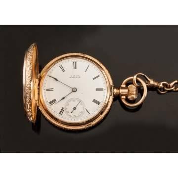 A. W. Co., Waltham 14K Gold Pocket Watch with Chain & Fob
