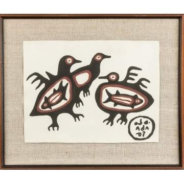 "Norval Morrisseau (Canadian, 1932-2007) ""Sea Birds"" Lithograph"