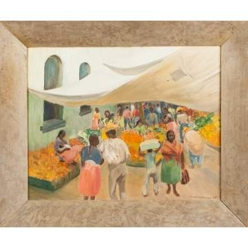 "Sarah Kitchen (American, 20th cent.) ""Mexico Market"""