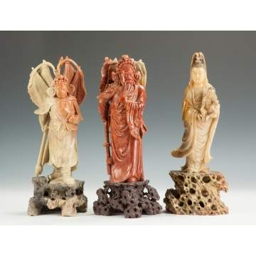 Three Chinese Carved Soapstone Court Figures