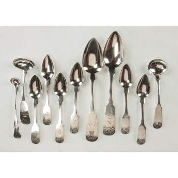Group of Coin Silver Teaspoons, Serving Spoons & Ladles