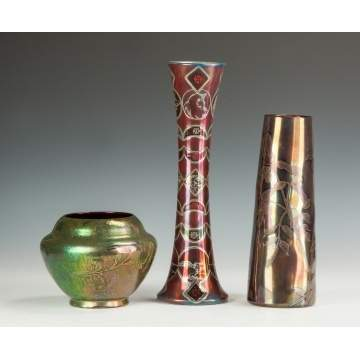 Three Pieces of Art Glass & Pottery