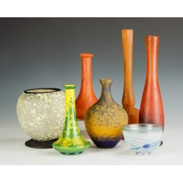 Seven Art Glass Vases